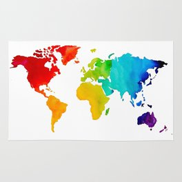 Original Watercolor - Map of The World - Travel Art - Chakra Rainbow Colors Rug