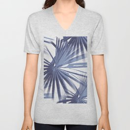 Pale Blue Violet Tropical Beach Palm Fan Vector Unisex V-Neck