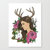 antler Canvas Prints featuring Antler by Linn Leding
