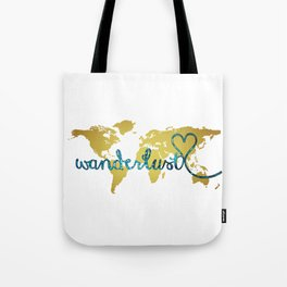 Wanderlust Gold Foil Map with Teal Glitter Text Tote Bag