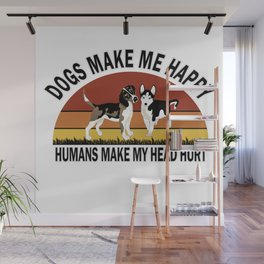 Dogs Make Me Happy Wall Mural