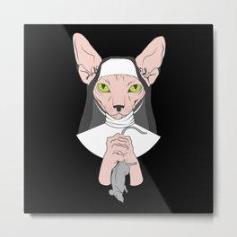 I'll Prey For You - Cat Nun Metal Print