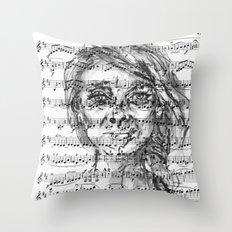 Music Sheet Girl 1 Throw Pillow