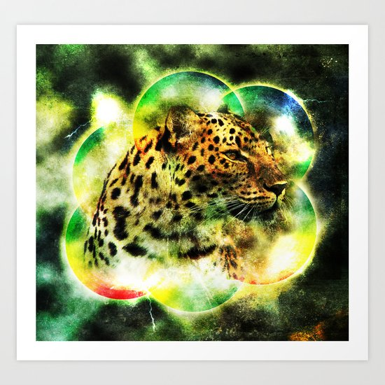 Animal - Grunge Watercolor - Leopard Art Print