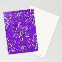 DP044-9 Silver snowflakes on purple Stationery Cards