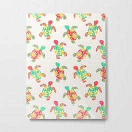 Cute Flower Child Hippy Turtles on Cream Metal Print