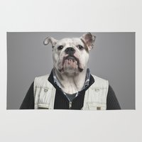 english bulldog Area & Throw Rugs featuring English Bulldog Worker by Life on White Creative