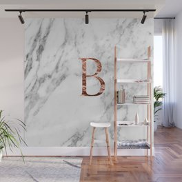 Monogram rose gold marble B Wall Mural