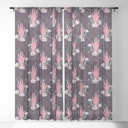 Temperance - Pink and Turquoise Sheer Curtain