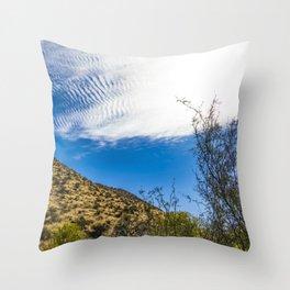 Clouds Stretching Across a Deep Blue Sky in the Anza Borrego Desert, California, USA Throw Pillow
