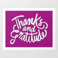 Thanks and Gratitude (Purple) Art Print