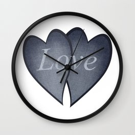 Loving hearts - denim photocollage Wall Clock