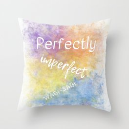 Perfectly Imperfect - Wabi-Sabi (white, blue, orange, yellow, purple) Throw Pillow