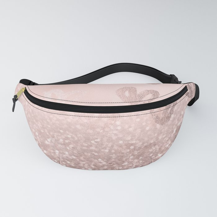 Rose Gold Sparkles on Pretty Blush Pink with Hearts Fanny Pack