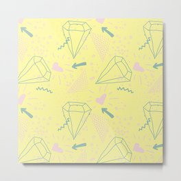 Memphis Pattern - Gemetrical  Retro Art in Yellow and Pink - Mix & Match With Simplicity Of Life Metal Print