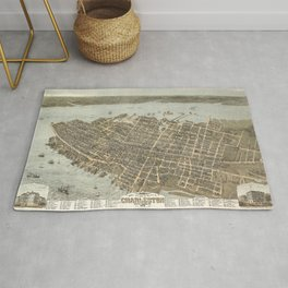 1872 Historical Bird's Eye View City Grid Map of Coastal Charleston, South Carolina  Rug