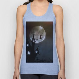 Drawing of a witch leaving her house on a broom in front of a full moon Unisex Tank Top