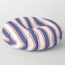 Nautical Red and Blue Stripes 2 Floor Pillow