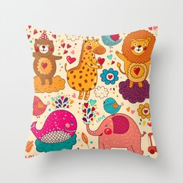 Animals in love Throw Pillow