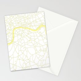 London White on Yellow Street Map Stationery Cards