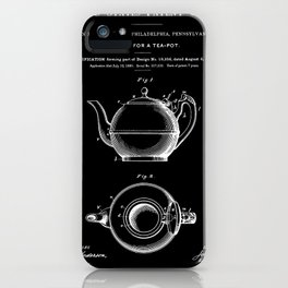 Tea Pot Patent - Black iPhone Case
