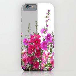 Red, pink, purple Hollyhocks garden iPhone Case