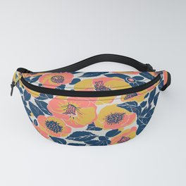 Living Coral Sunny Yellow Gold Flowers, Summer Floral Fanny Pack