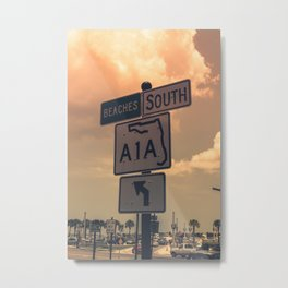 A1A South To The Beaches Metal Print