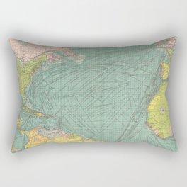 Vintage Atlantic Ocean Navigational Map (1922) Rectangular Pillow