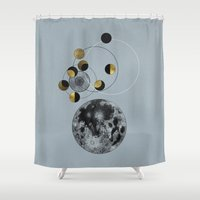 kubrick Shower Curtains featuring Blue Moon by J Arell