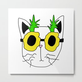 Cat Pineapple Sunglasses Metal Print
