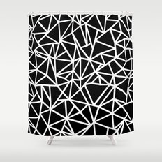Abstract Outline Thick White on Black Shower Curtain