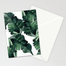 Banana Leaves Pattern Green Stationery Cards