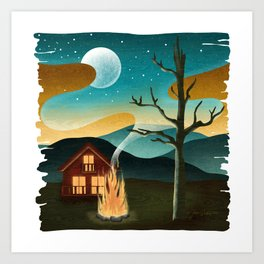 Swan Cabin Wood Grain Art Print