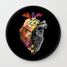 Flower Heart Spring Wall Clock