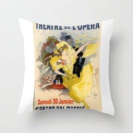 Belle Epoque vintage poster, French Theater, Theatre de L'Opera Throw Pillow