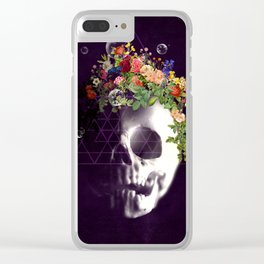 Skull with flowers no1 Clear iPhone Case