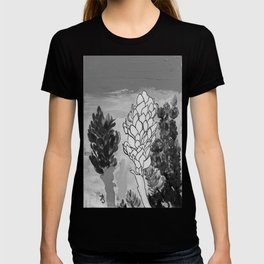 Alpinia purpurata – Red Ginger Flower - Black and White Greyscale T-shirt