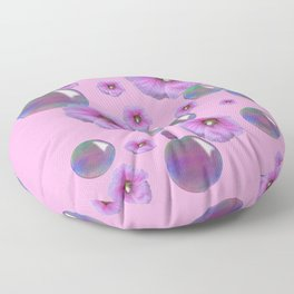 PINK-PURPLE FLOATING HOLLYHOCKS & SOAP BUBBLES PINK  ART Floor Pillow