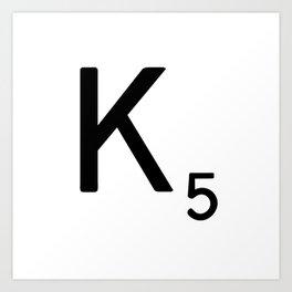 Letter K - Custom Scrabble Letter Tile Art - Scrabble K Art Print