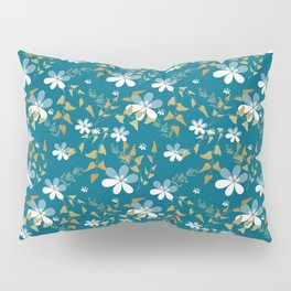White flowers on a blue background . Pillow Sham