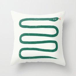 Minimal Jungle Snake Throw Pillow