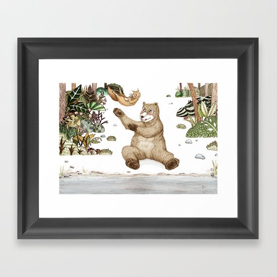 Mr.Brown is playing with the squirrel Framed Art Print