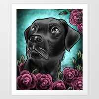 lab Art Prints featuring Black Lab... by Lily Fitch