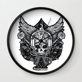Skull on fire Wall Clock