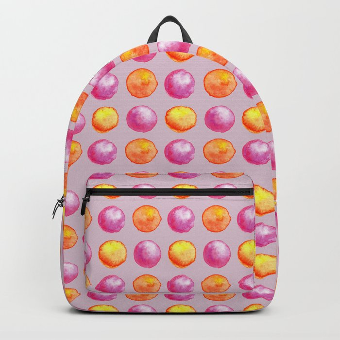 Juicy Watercolor Pink Pearls And Orange Fireballs Pattern Backpack