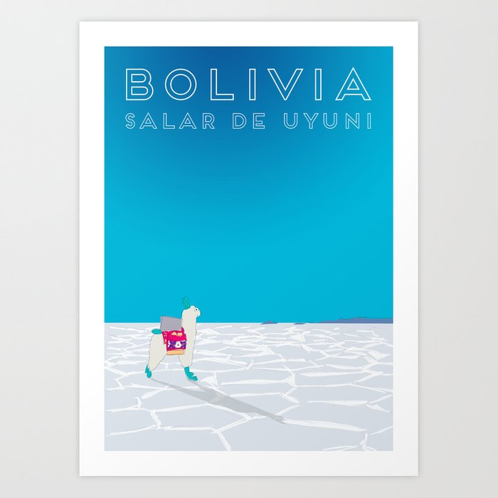 Bolivia Salt Flats Travel Poster Art Print