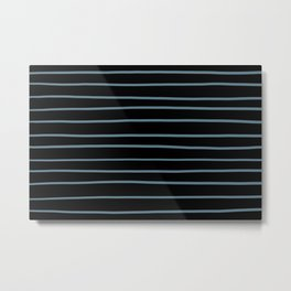 Inspired by Behr Blueprint Blue S470-5 Hand Drawn Horizontal Lines on Black Metal Print