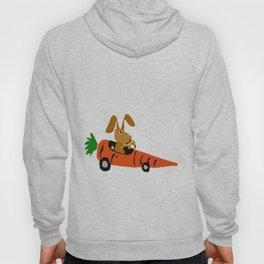Funny Brown Bunny Rabbit Driving Carrot Car Original Artwork Hoody