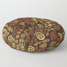 Ethnic African Pattern- browns and golds #12 Floor Pillow